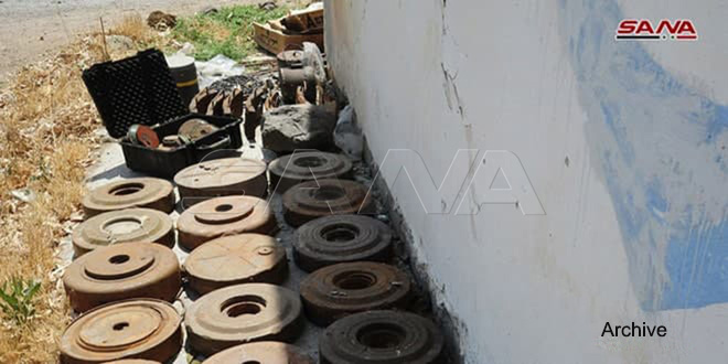 One civilian injured in blast of land mine left behind by terrorists in Hama countryside