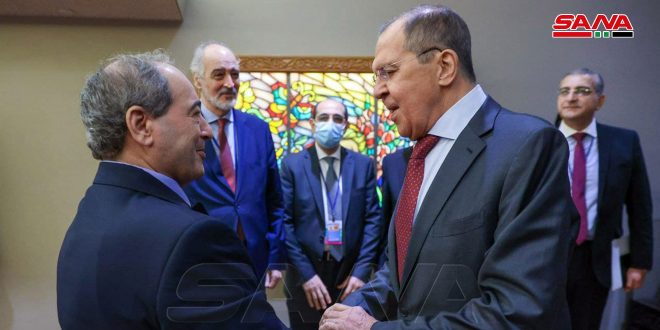 Mikdad, Lavrov affirm necessity of combating terrorism, ending illegitimate foreign presence on Syrian territory