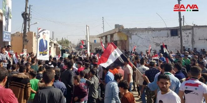 A stand in Aleppo countryside in protest against Turkish occupation crimes