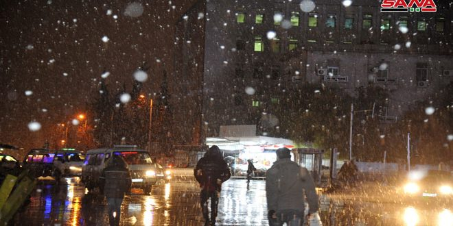 La nevada en la capital Damasco