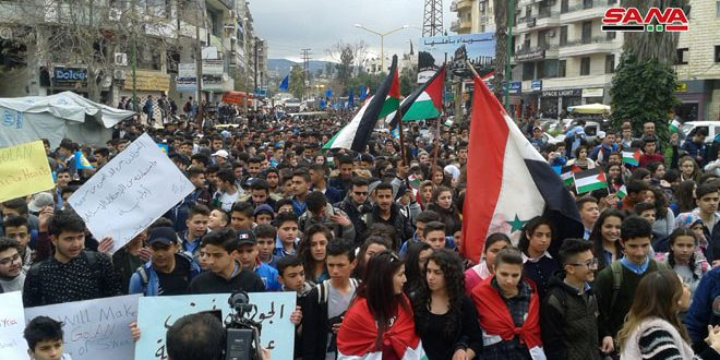 Masivas protestas en las provincias sirias contra decisión de Trump sobre el Golán sirio ocupado