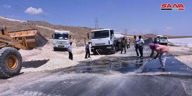 Los dos ministros de recursos hídricos y administración local inspeccionan proyectos vitales en Alepo