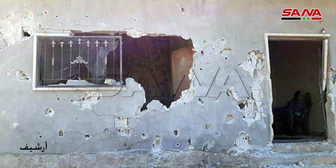 Daños materiales en bombardeos terroristas con cohetes contra ciudad de Suquebieh, Hama