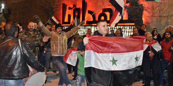Festejan habitantes de Alepo victorias del ejército sirio
