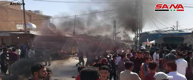 Protestas populares contra la milicia FDS en Shadadi, Hasakeh