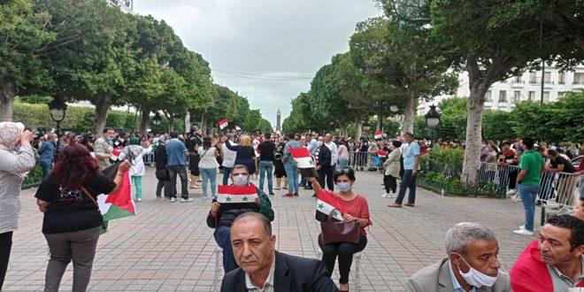 Tunecinos protestan y exigen restablecer las relaciones de su país con Siria y romper el bloqueo (fotos)