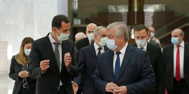 Presidente Al-Assad recibe a Lavrentiev y las conversaciones abordan próxima Conferencia Internacional de Refugiados