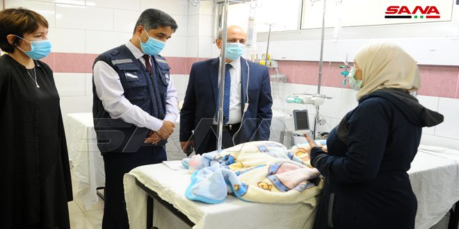 Delegación de alto nivel de la OMS visita el Hospital Pediátrico Universitario de Damasco