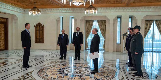 Presidente al-Assad recibe credenciales de los embajadores de Irán y Palestina en Siria