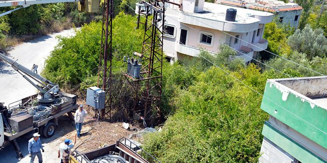 Rehabilitan redes eléctricas saboteadas por terroristas en Latakia (+fotos)