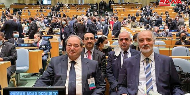 Siria participa en 76º período de sesiones de la Asamblea General de la ONU