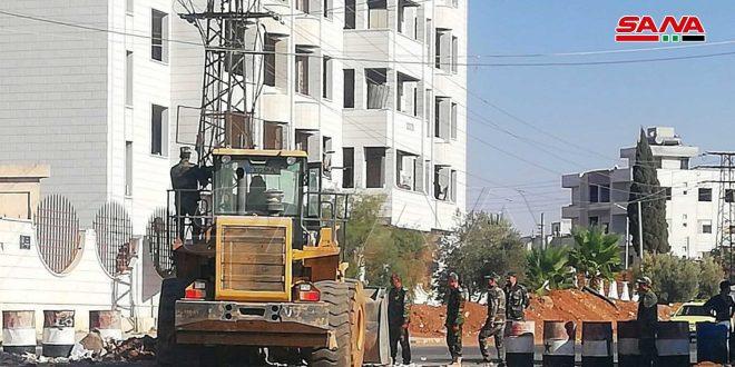 Continúan trabajos de mantenimiento de la red eléctrica en el barrio de Deraa al-Balad