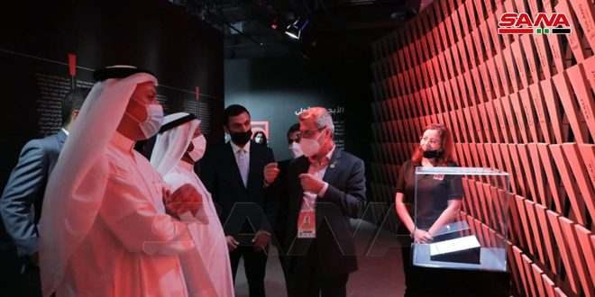 Delegación emiratí visita pabellón de Siria en Expo Dubái 2020