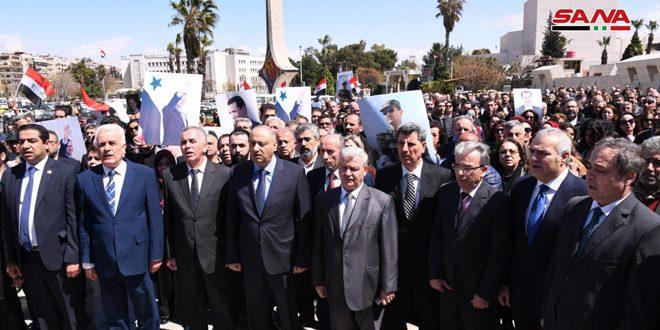 تجمع خبرنگاران سوریه برای همبستگی با اهالی ما در جولان اشغالی/ وزیر اطلاع رسانی کشورمان: جولان سرزمبن عربی سوری باقی خواهد ماند