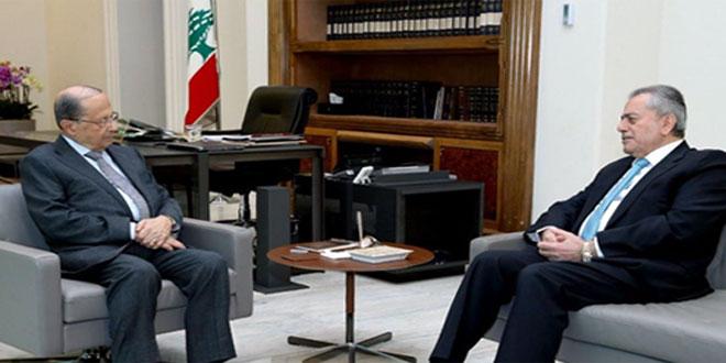 عون با سفیر عبد الکریم روابط دوجانبه بین سوریه و لبنان را بحث وبررسی کرد