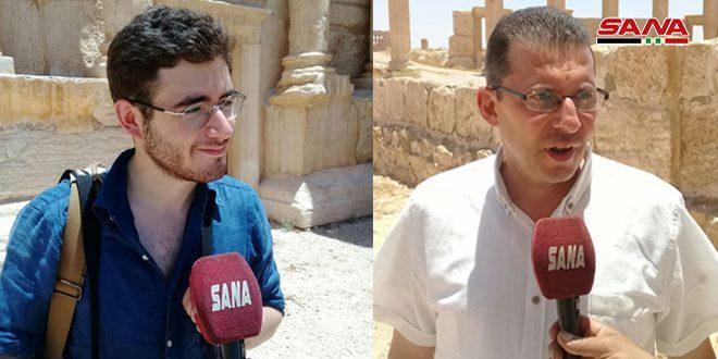 مستند سازی خسارات وارده به آثار باستانی پالمیرا درپی تروریسم توسط دو گردشگر بریتانیایی