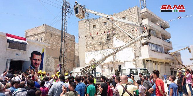بهره برداری از 12 پست توزیع برق در محله های آزادشده حلب