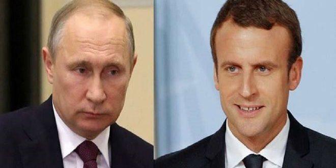 پوتین با ماکرون تحولات در سوریه وبرجام را بررسی می کند