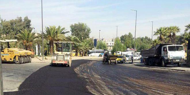 آغاز عملیات ترمیم و بهسازی آسفالت خیابان الخرطوم در دمشق