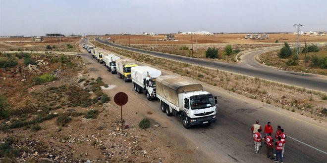 توزیع کمک های غذایی به 3 شهرک در ریف شمالی درعا توسط هلال احمر عربی سوریه