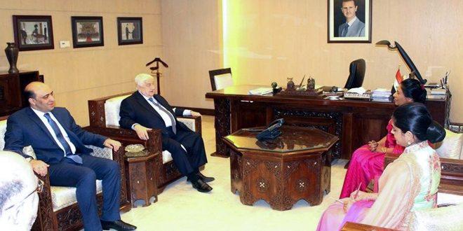 ولید المعلم استوارنامه سفیر جمهوری سریلانکا در دمشق را تحویل گرفت