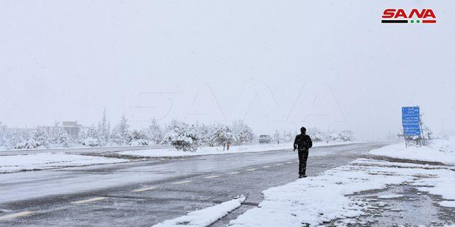 بارش برف های سنگین در منطقه قاره در حومه دمشق / تصاویر