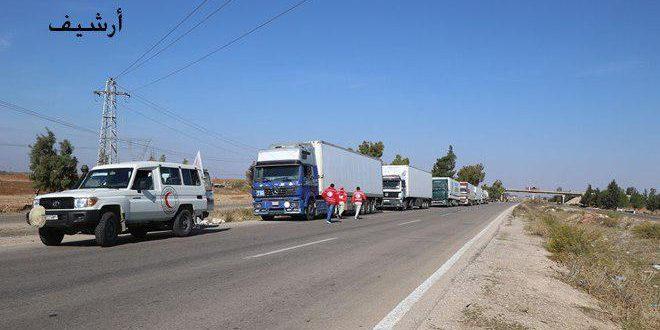 هلال احمر /2900/ بسته غذایی و کیسه آرد را به 5 روستا در حومه شمالی درعا وارد کرد