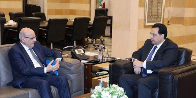 بررسی راه های تقویت روابط سوریه و لبنان در دیدار حسان دياب و نصری خوری