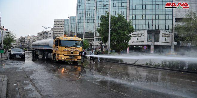 تداوم روند پاکسازی وضد عفونی شهر دمشق وحلب