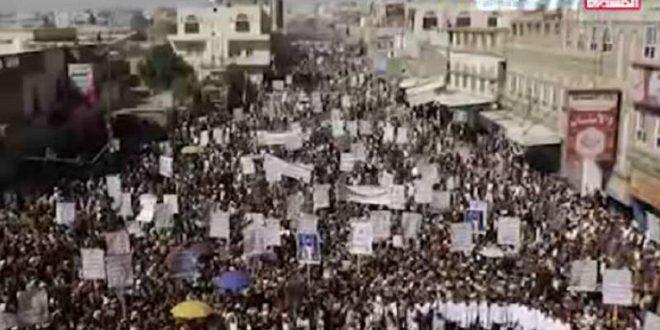 تظاهرات اهالی یمن در محکومیت جنایات آمریکا