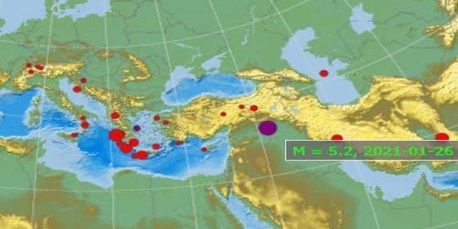 زلزله ای در مناطق مرزی سوریه و عراق به وقوع پیوست