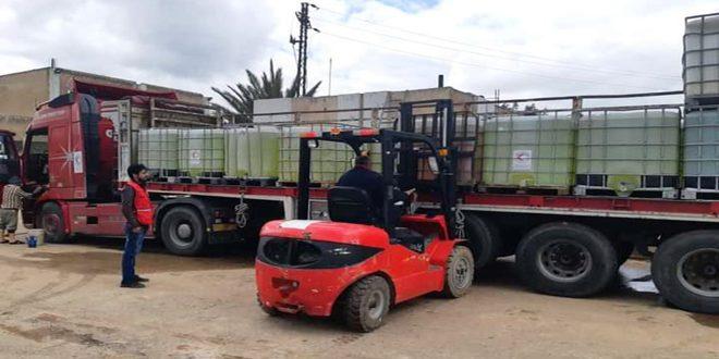 اهدای محموله مواد ضدعفونی به اداره آب استان درعا توسط هلال احمر