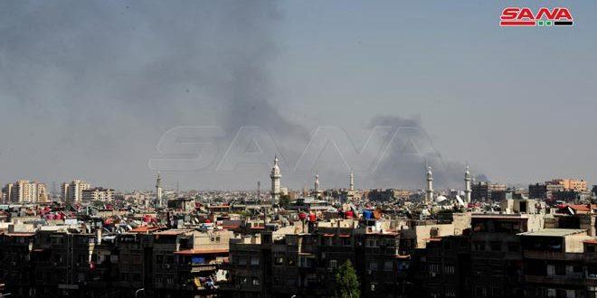 وقوع آتش سوزی در یک کارخانه تولید پلاستیک در روستای البحدلیه در حومه جنوبی دمشق