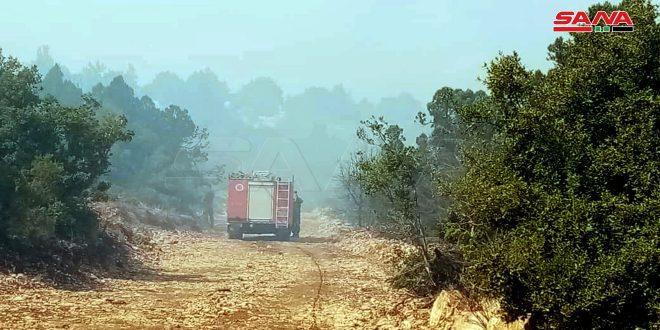 تداوم تلاش آتش نشانان حمص برای مهار آتش سوزی در مناطق مرزی با لبنان