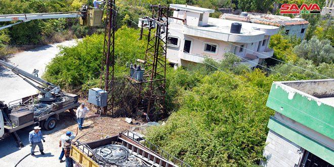 پس از بازسازی شبکه برق که توسط تروریسم تخریب شده بود..وصل مجدد جریان برق در روستاهای غنیمیه و وادی شیخان در حومه لاذقیه