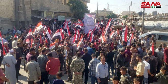 استان حلب..تجمع گسترده اهالی تل رفعت علیه اشغالگر ترکیه