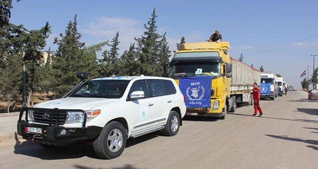 arriv e d un convoi d assistances de secours alep agence arabe syrienne informations. Black Bedroom Furniture Sets. Home Design Ideas