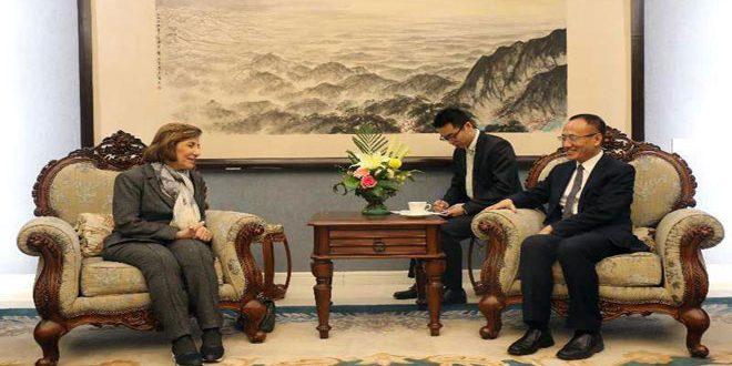 Chaabane examine avec l'adjoint du ministre chinois des Affaires étrangères les moyens de renforcer les relations syro-chinoises