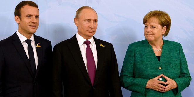 Poutine discute au téléphone avec Mirkel et Macron de la situation en Syrie