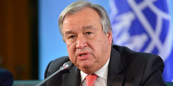 Guterres affirme le déplacement de 160 mille personnes du fait de l'agression turque permanente contre les territoires syriens