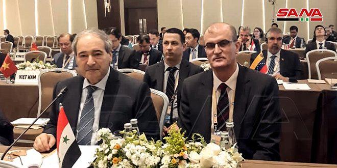 La Syrie participeà la réunion ministérielle préparatoire des pays du Mouvement des non-alignés à Bakou
