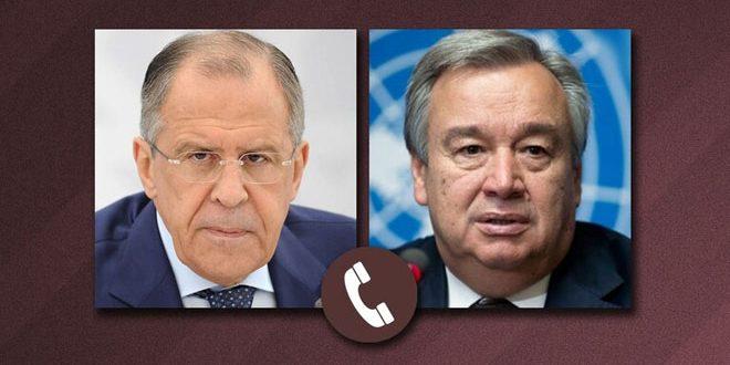Lavrov et Guterres affirment que le règlement de la crise en Syrie passe par un processus politique conduit par les Syriens eux-mêmes