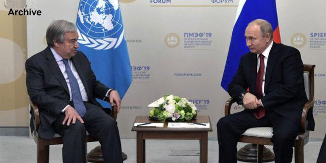 Poutine et Guterres s'inquiètent de l'intensification des sanctions occidentales unilatérales visant la Syrie