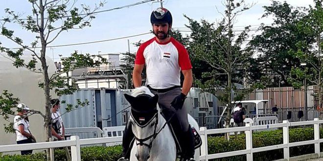 Le cavalier Ahmad Hamcho se prépare pour participer aux compétitions de saut d'obstacles aux Jeux olympiques de Tokyo