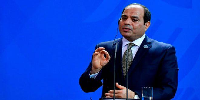 Al-Sissi insiste sur la position de son pays rejetant les tentatives de certaines parties de violer la souveraineté syrienne