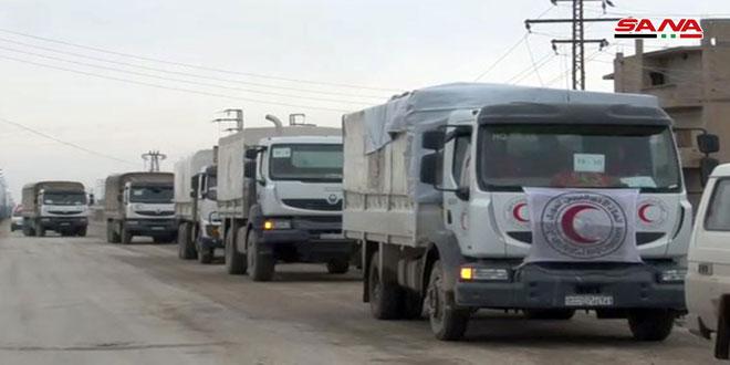 שיירת סיוע לתושבי הג'ין בפריפריה המזרחית של דיר א-זור