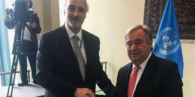 """אלג'עפרי נפגש עם מזכ""""ל האו""""ם ומסר לו סירוב סוריה להצהרות טראמפ על הגולן הסורי הכבוש"""