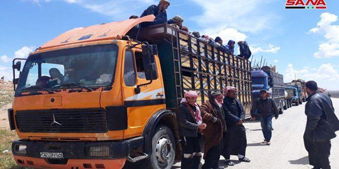 מאות מהגרים חזרו ממחנה אלרוכבאן דרך מעבר ג'ליע'ם בפרבר חומס המזרחי
