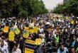 תהלוכות המוניות באיראן לתמוך בהחלטת קיצוץ הקף ההתחייבות כלפי הסכם הגרעין