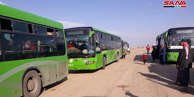 קבוצה חדשה של מהגרים סורים חזרה ממחנה אלרוקבאן דרך מעבר ג'ליגם בפרבר חומס המזרחי